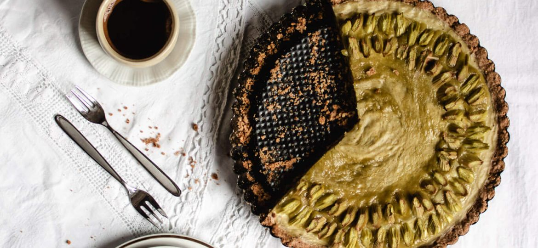 veganska rabarbarina pita z vanilijo